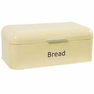 Bread Bin Cream Curved Steel Kitchen Top Container Loaf Roll Box Storage