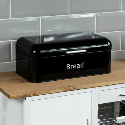 BREAD BIN Black Curved Steel Kitchen Top Container Loaf Roll Box Storage