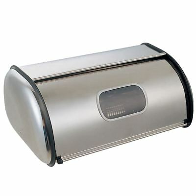 BREAD BIN With Window Roll Top Kitchen Container Loaf Curved Box Stainless Steel