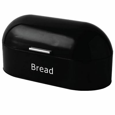 BREAD BIN Black Retro Steel Kitchen Top Storage Loaf Roll Container Box Curved