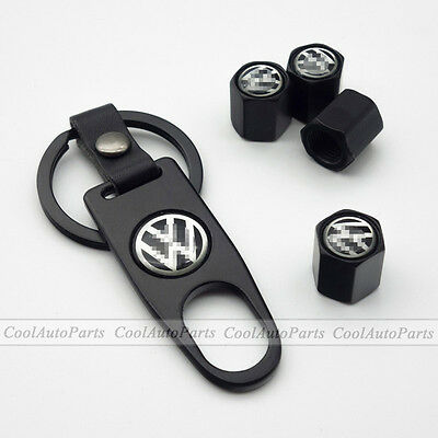 4X Black Car Air Valve Caps Wheel Stems Tyre Tire Wrench KeyChain For Volkswagen