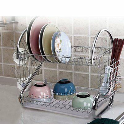 2 Tier Chrome Plate Dish Cutlery Cup Drainer Rack Drip Tray Plates Holder Silver