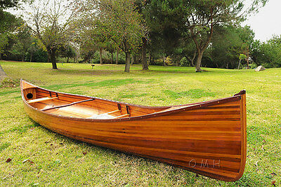 Real Canoe 16 Ft Built Cedar Strip Wood Boat with Paddles and Cover Assembled