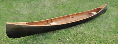 Real Canoe With Ribs 18 Ft Cedar Strip Wood Two Seaters with Paddles  Assembled