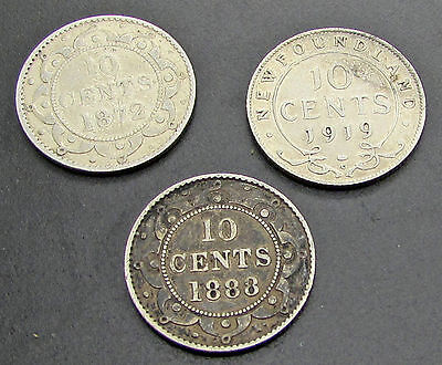 Newfoundland 1888  1872 H 1919 10 Cents Silver Dime Lot Of 3