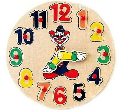 Puzzle Clock Wooden Teaching Toy Time Numbers Peg Educational Activity Kids