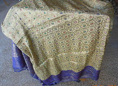 """Antique Sari gold thread pink orange blue green flowers 184 inches long 42"""" wide"""