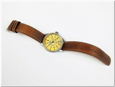 WW2 German Luftwaffe ME-109 Pilot Watch - Brown Leather Strap - Vintage - New