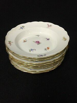 8 Meissen 19th Century Soup Bowls Hand Painted Flowers Pattern