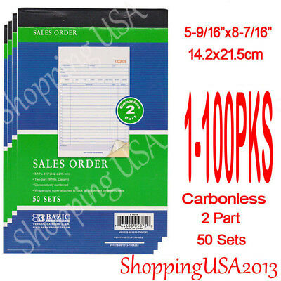 1-100 Sales Order Book Receipt Invoice Cash Rent 50 Sets 2 Part Duplicate@@