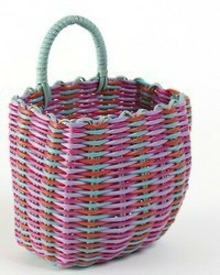 RETRO Woven Peg Bag - 1940s and 50s Style Red, Aqua, Pink Basket