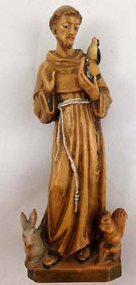Vtg Anri St Francis Hand Carved Wood Religious Figure Patron of Animals
