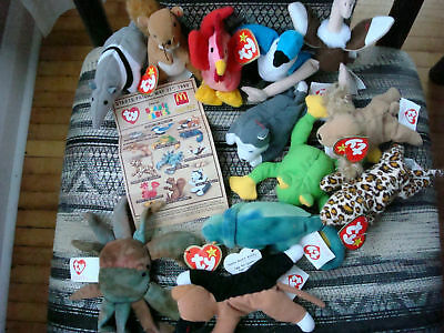 TY Teenie Beanie Babies*McDonalds*Set of 12*1999/1993*Includes Collector Sheet!