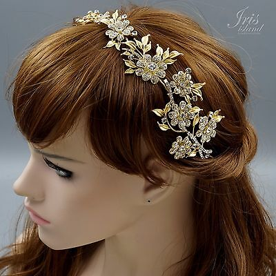 Crystal Flower Headband Headpiece Tiara Wedding Accessory Pin 00561 Satin Gold