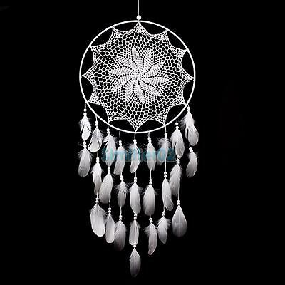 "43.3"" Large Handmade Dream Catcher with White Feathers Wall Hanging Decoration"