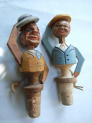 2X Antique Carved Mechanical Wine Bottle  Stopper Man Tipping Hat & Nodding 20'S