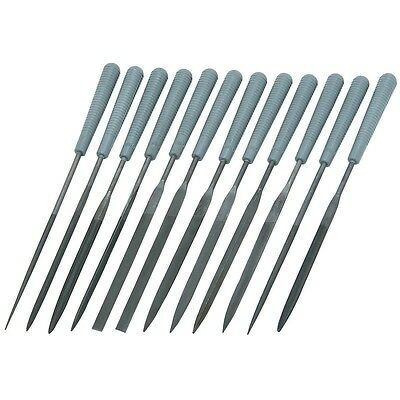 12 Piece Precision Needle File Set Assorted Shaped Poly Handles