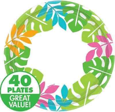 "Palm Leaf Border Tropical Luau Beach Theme Party Bulk 7"" Paper Dessert Plates"