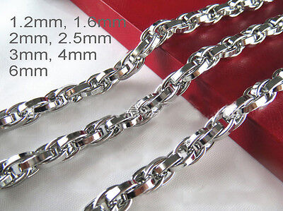 "16""-36"" Mens Womens Stainless Steel Diamond Cut Rope Chains Gene Chains Necklace"