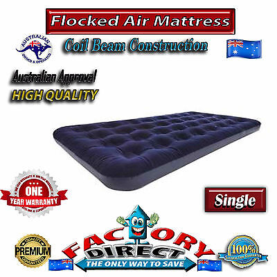 Top Quality Heavy Duty Single Flocked Inflatable Air Bed Mattress Camping Home