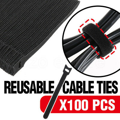 100pcs Velcro Nylon Cable Ties Hook Loop Strap Wrap Reusable Black Electrical AU