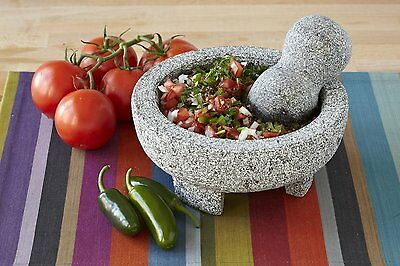 Guacamole Mortar and Pestle Pesto Thai Mexican Basalt Lava Stone Pan Marble NEW