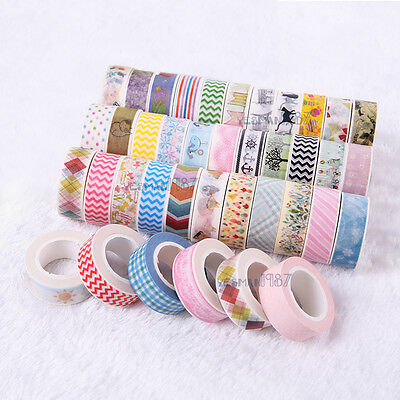 5 10 PCS 1.5cm×10M DIY paper Sticky Adhesive Sticker Decorative Washi Tape NEW