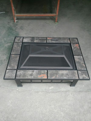 metal fire pit 84.5cm 84.5cm 35cm centerpeice with solid frame and tile rim