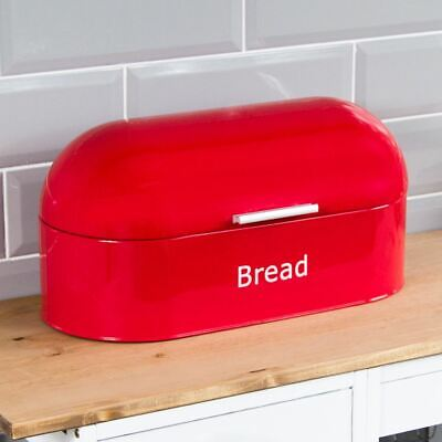 BREAD BIN Red Retro Steel Kitchen Top Storage Loaf Roll Container Box Curved