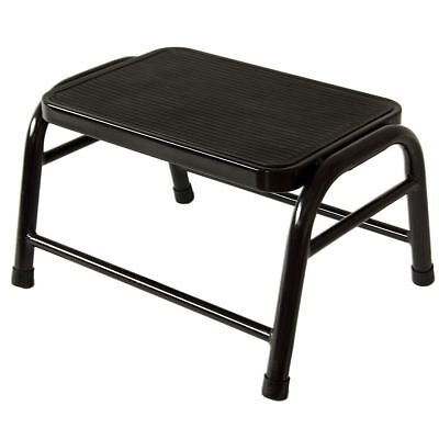 ONE STEP STOOL Black Metal Non-Slip Rubber Mat Tread Compact Kitchen Bathroom