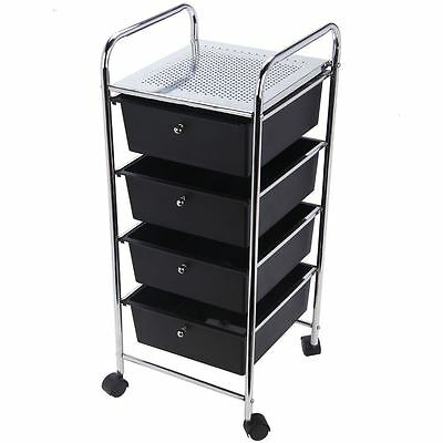 4 Drawer Trolley Cart Storage Portable Rack Cabinet Black Chrome Kitchen Office