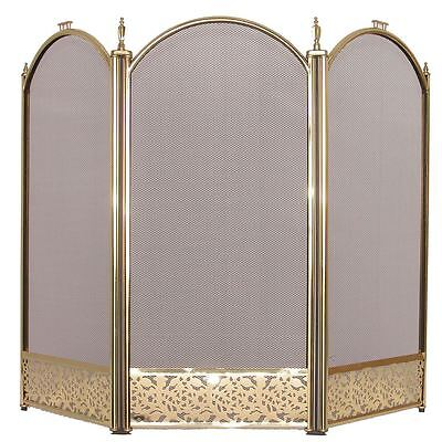 Ingelton Fire Screen 3 Panel Brass Cover Shield Protector Guard Fireplace