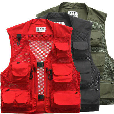 UK Men Quick-Dry Multi-Pocket Travelers Fishing Photography Vest Outdoor Jacket