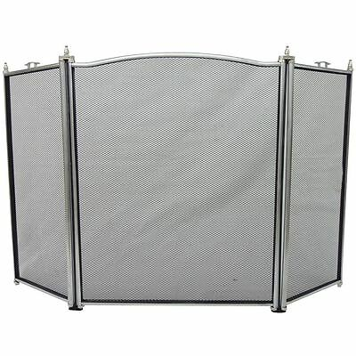 Denton Fire Screen 3 Panel Pewter Guard Cover Spark Shield Protector Fireside