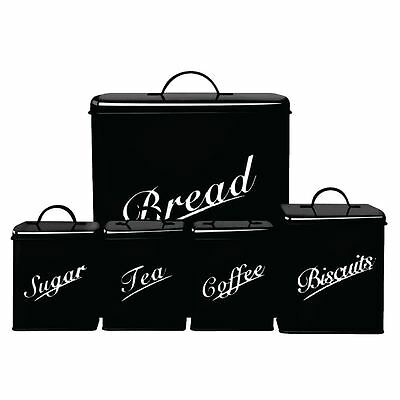Canister Set 5 Piece Black Bread Sugar Coffee Tea Biscuits Kitchen Bins Tins