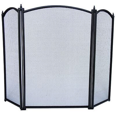 Selby Fire Screen Black 3 Panel Fireside Guard Cover Spark Shield Protector