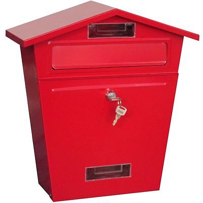 Post Box Steel Letter Mailbox Red House Wall Mountable Lockable Key Outdoor