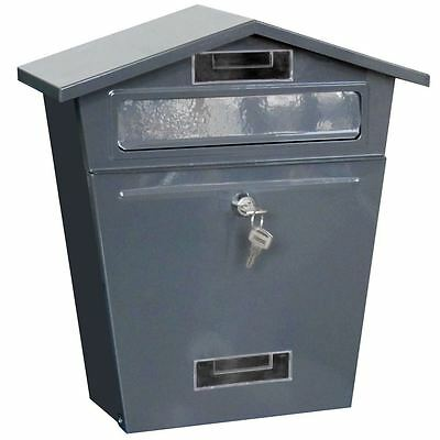Post Box Steel Letter Mail Dark Grey House Wall Mountable Lockable Key Outdoor