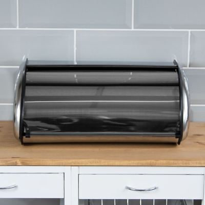 Bread Bin Roll Stainless Steel Kitchen Loaf Storage Container Mirror Finish
