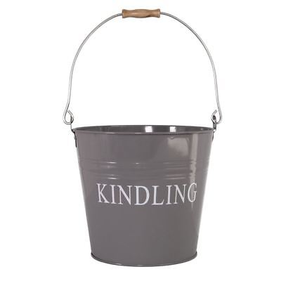 Kindling Bucket Grey Ash Log Wood Storage Basket Metal Scuttle Hod Fireside