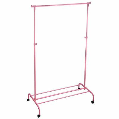 Single Garment Rack Adjustable Portable Clothes Rail Hanging Stand Pink