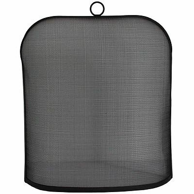 Ilton Fire Guard Black With Ring Handle Fireside Fireplace Cover Protector Guard
