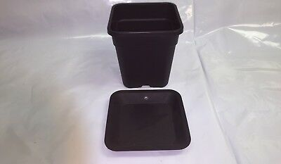 Atami Wilma 11L Litre Premium Square Plant Pot with Saucer Tray Hydroponics