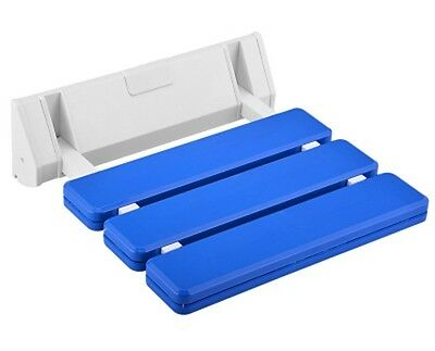 Wall Mounted Bathroom Fold Down Shower Seat   Blue & Chrome   holds upto 130kg