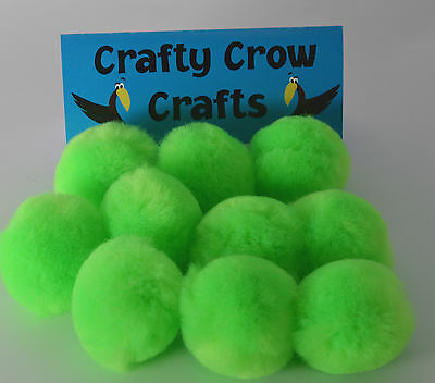 10 x LARGE NEON GREEN 50mm POM POMS