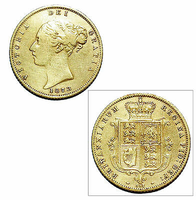 Pre-Owned 1873 Half Sovereign 22ct Gold Coin. Queen Victoria Young Head & Shield