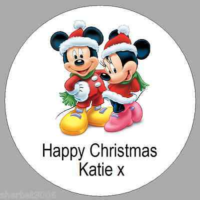 24 x 40mm Personalised Stickers Round Mickey & Minnie Mouse Christmas Labels