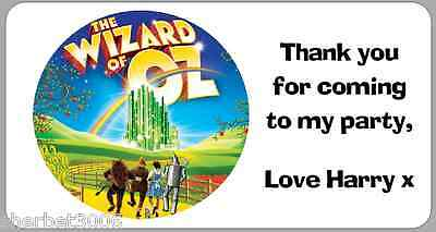 24 x Personalised Stickers Wizard of Oz Labels Thank You Party Address