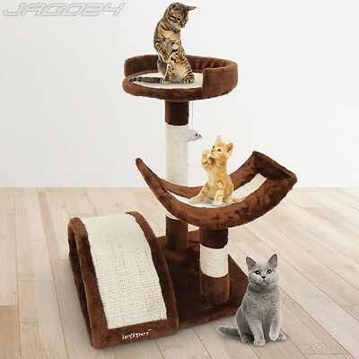Cat Kitten Tree Scratching Post Scratcher Sisal Climbing Excercise Toy Brown