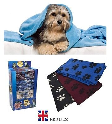 LARGE FLEECE BLANKET Soft Touch Warm Cosy Pet Dog Puppy Cat Travel Bed Basket UK